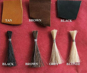 Colour Swatches of the real horse hair used on Tetbury Rocking Horses